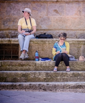 Jean Sketching In Pienza Italy Crop